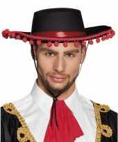 Goedkoop zwarte spaanse hoed rood carnavalskleding